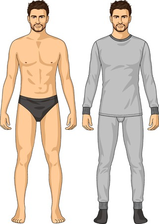The underwear for the man consists of a jacket and trousers