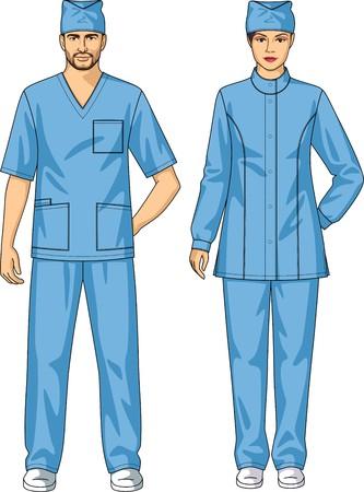 남자와 여자를위한 의료 복은 재킷과 바지로 이루어져있다. 일러스트
