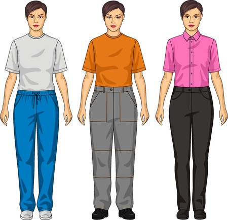 Three types of trousers for the girl Ilustração