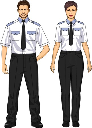 La demanda para la guardia de seguridad consiste en una camisa y pantalones Foto de archivo - 43795996