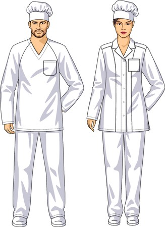 남자와 여자를위한 옷은 재킷과 바지로되어있다. 일러스트