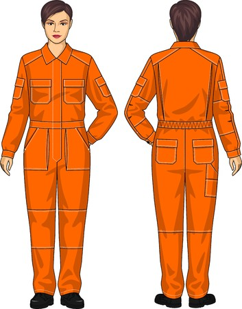 knee boots: Overalls for the woman with different pockets Illustration