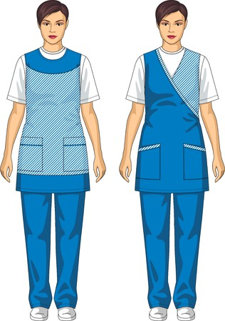Kind of aprons with pockets for the woman Ilustração
