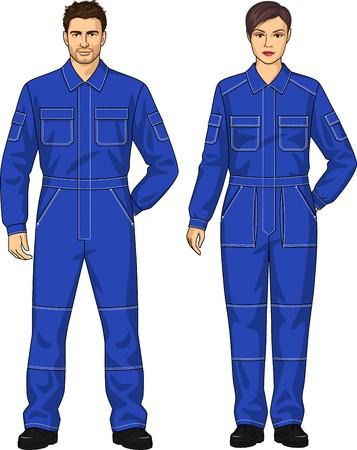 overol: Trajes de trabajo para la mujer y el hombre con los bolsillos