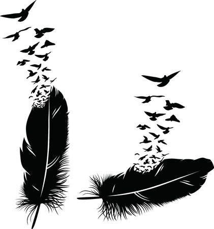 Two feathers with the taking-off flock of birds in the form of a tattoo