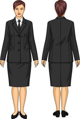 여자의 균일 한 정장 재킷과 스커트로 구성