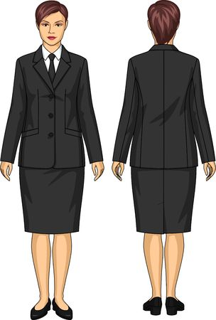 skirt suit: The uniform suit for the woman consists of a jacket and a skirt