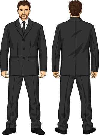 black men: The suit of uniform consists of a jacket and trousers Illustration