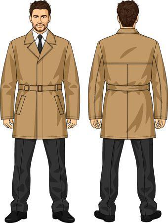 남자 용 벨트 클래식 재킷 일러스트