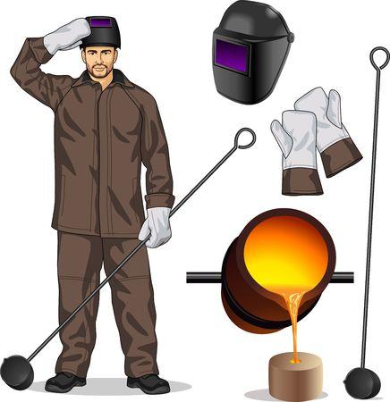 금속 분지의 작업자와 속성 일러스트