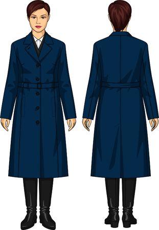 클래식 한 여성 코트 벨트