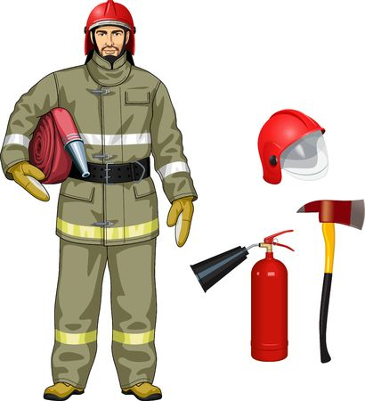 The man in a suit for the firefighter with tools