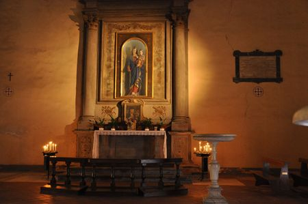 holy mary: Holy Mary with Christ Child on altar Stock Photo