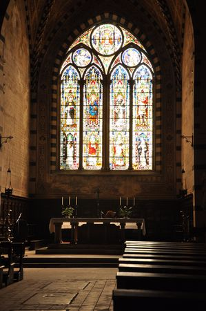 in vitro: Gothic vitro window in church Stock Photo