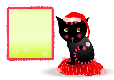 cute black cat with Christmas card Vector