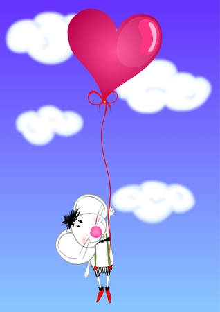 Valentine days cute mouse in love with pink heart shaped balloon Vector