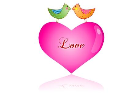 corazon rosa: D�a de San Valent�n de aves de amor en el coraz�n de Rosa