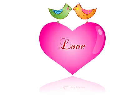 Valentines day love birds on pink heart Vector