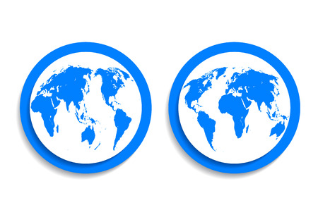blue icon button flat planet earth on both sides Vector