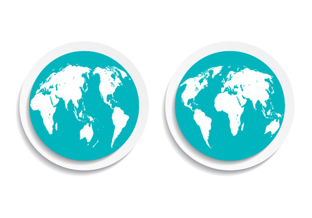 both: blue icon button flat planet earth on both sides Illustration