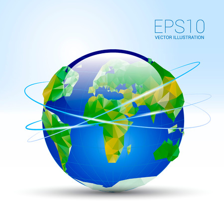 planet earth on a blue background around the earth planes fly Vector