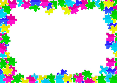 frame from scattered colored flat toys puzzles with white background Ilustração