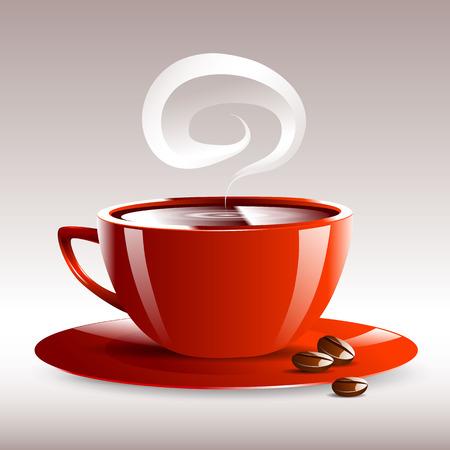 non alcohol: una taza roja de caf� caliente