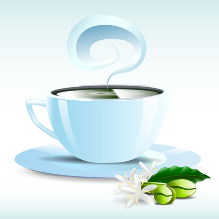 non alcohol: una taza de caf� negro caliente Vectores