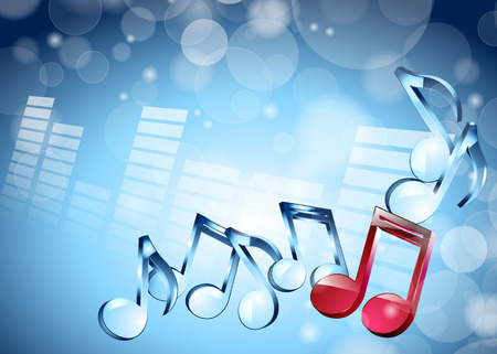 interconnect: vector illustration 3D musical notes on shiny blue background Illustration