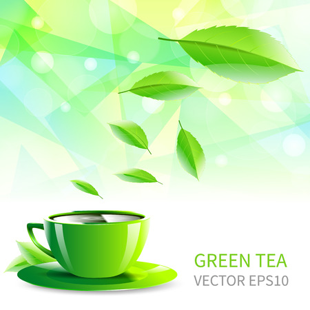 vector illustration cup of tea falling leaves