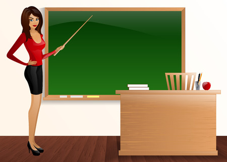 female portrait: young pretty good teacher board Pointer teacher