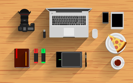 speakers desk: desk vector video notebook top icon background view business flat pencil paper set Illustration