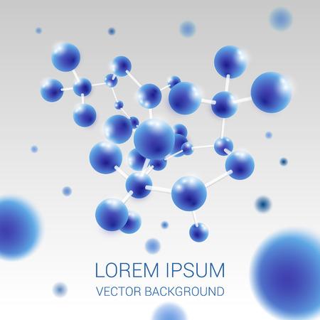 Estructura de la molécula de ilustraciones médicas fondo azul