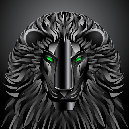 undomesticated: animals lion black technology cyborg  metal profile robot
