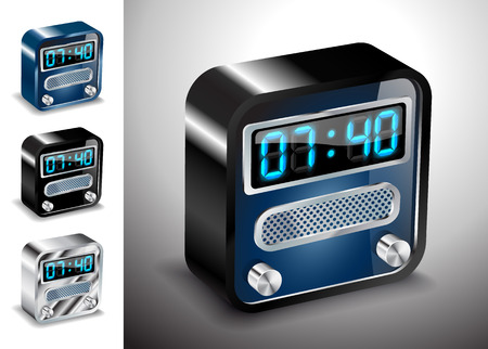 illustration icons button alarm time clock Vector