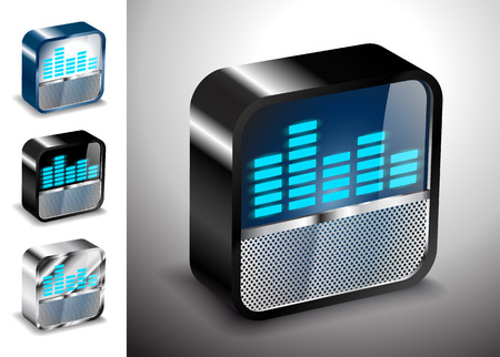 button icons: button icons 3D equalizer radio sound