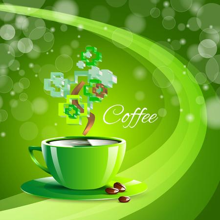 kitchen studio: coffee drink green cup beverage background espresso