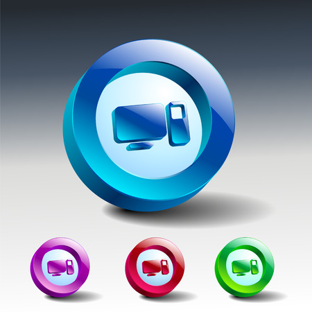 glass icons set green computers technology monitor Vector