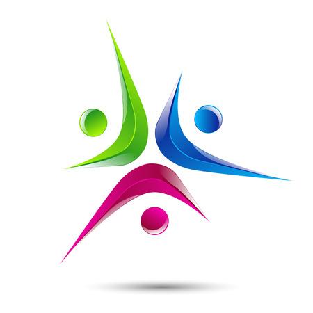Design-Vektor-Logo Element Zusammenfassung Menschen icon