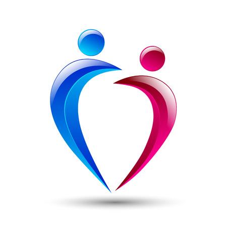 simbolo uomo donna: Estratto figure umane Elementi Logo Design Icon