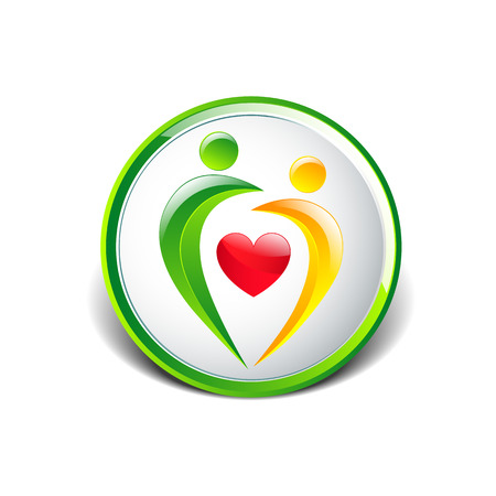 Abstract colorful people and heart shape icon Vector