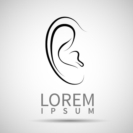 Ear icon isolated on white background. VECTOR illustration. Ilustracja