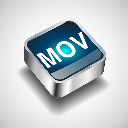 mov: Video File format or file extension MOV icon for interface applications and websites isolated on white background. Vector illustration
