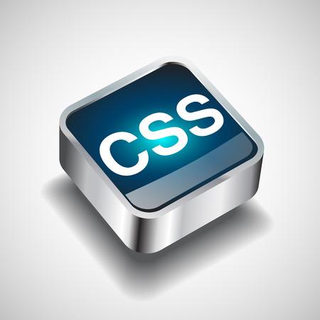css: Formato file o estensione del file icona CSS per le applicazioni di interfaccia e siti web isolato su sfondo bianco. illustrazione