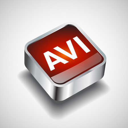 avi: Video File format AVI icon isolated background