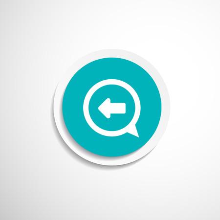business direction: Blue arrowleft symbol business direction white background button