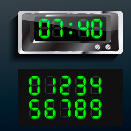 vector blue glowing digital numbers clock led Vector