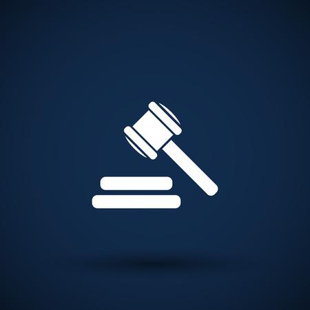 vector icon grijze achtergrond gavel wet juridische hamer Stock Illustratie