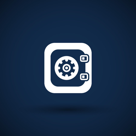 turn dial: Flat icon of safe lock finance bank security protection safety Illustration
