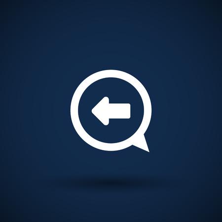 inet symbol: Blue arrowleft symbol business direction white background button